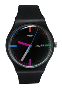 Swatch SUOB719 The Indexter Black Day Date Dial Silicone Band Unisex Watch New