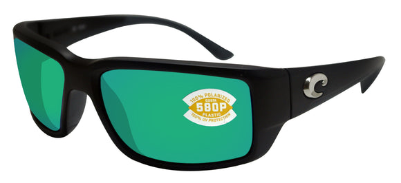 Costa Del Mar Fantail Black Frame Green Mirror 580P Plastic Polarized Lens