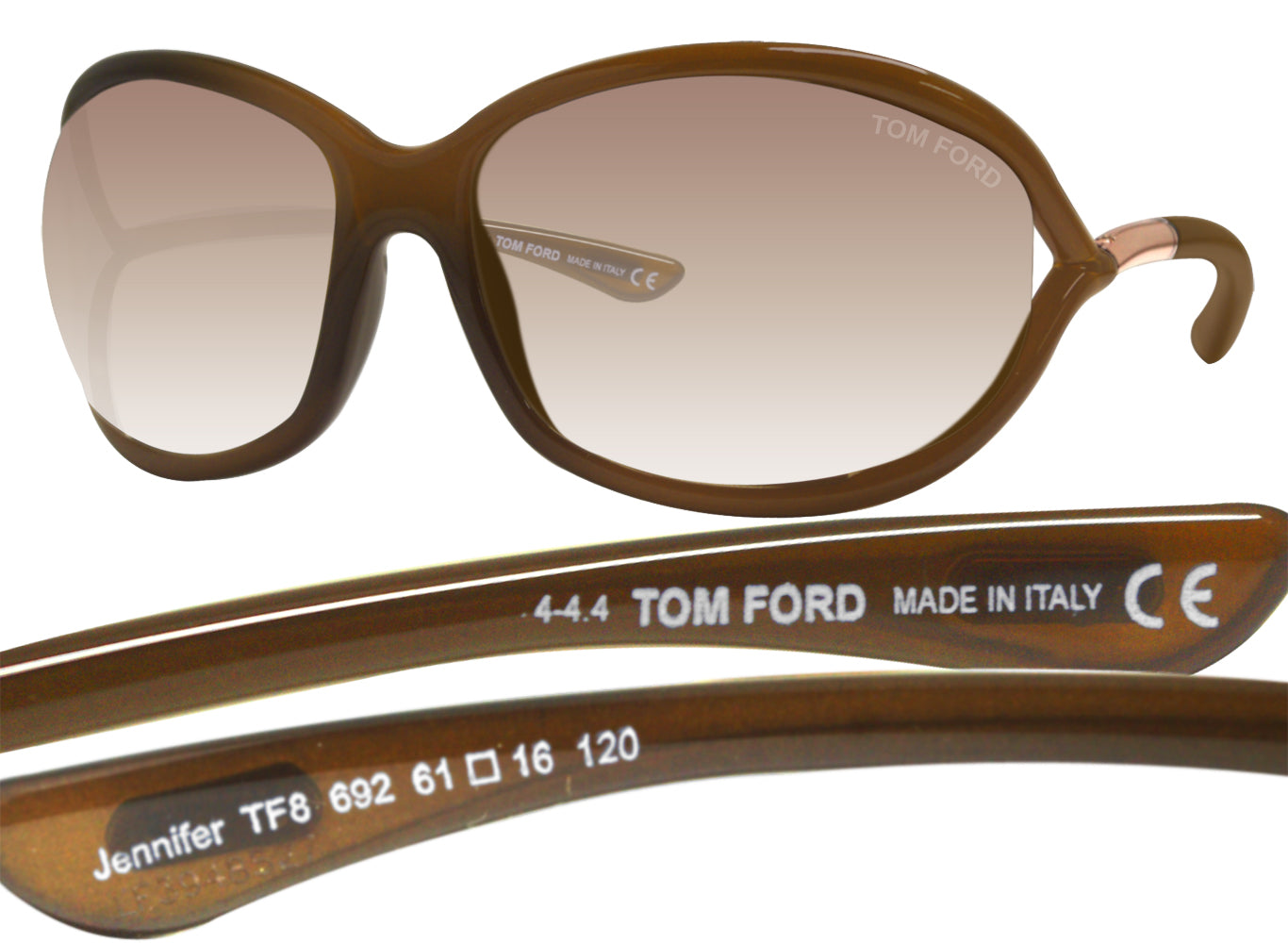 53e4083fd6 Tom Ford FT0008 Jennifer Soft Square Dark Brown 61 Lens Sunglasses TF8 –  sasy420