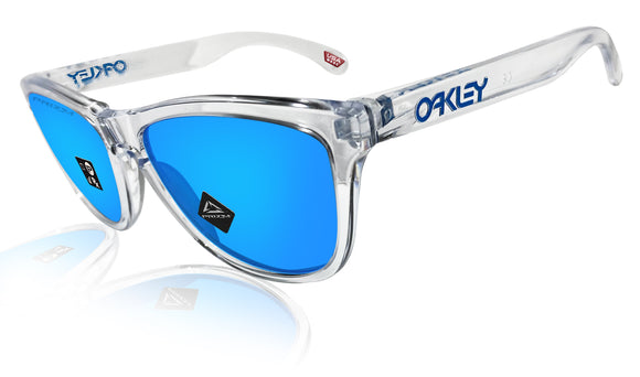 Oakley Frogskins Crystal Clear Prizm Sapphire Lens Authentic Sunglasses 0OO9013