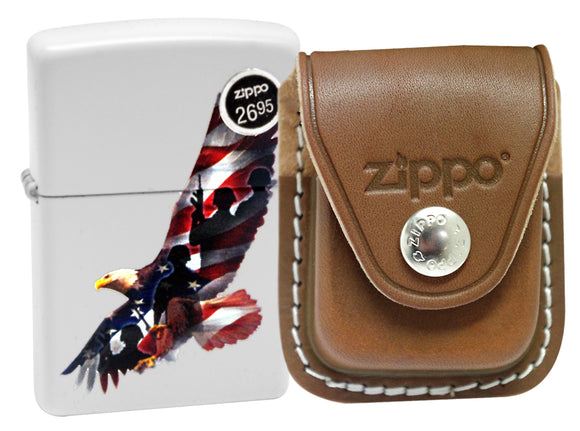 Zippo 29418 White Matte Finish Lighter + LPCB Brown Leather Pouch Clip