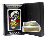 Zippo 28859 Rose Adorned Skull White Matte Lighter