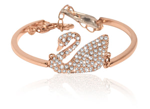 Swarovski swan bangle white rose-gold tone plated 5142752