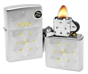 Zippo 29411 Flowers Floral Design Satin Chrome Finish Windproof Lighter New