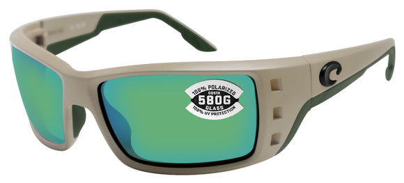 Costa Del Mar Permit Matte Sand Frame Green Mirror 580G Glass Polarized Lens New