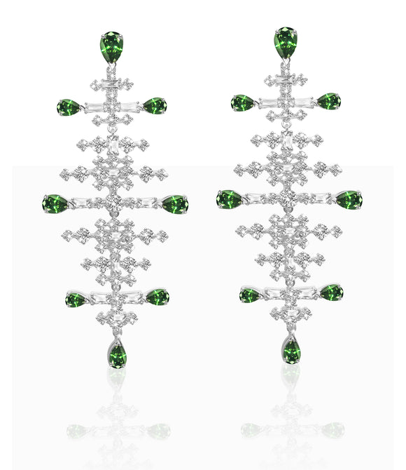 Swarovski perfection chandelier pierced earrings green rhodium plated 5496837