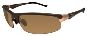 Polarone P1-1081 AL C3 Matte Brown Rose Gold Frame Polarized Lens Sunglasses New