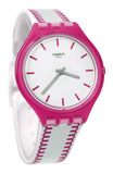 Swatch SVOP102 Skinpunch Analog Dial White Pink Silicone Band Skin Watch New