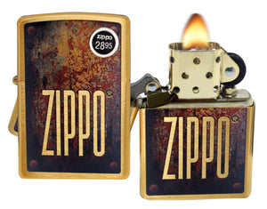 Zippo Lighter 29879 Rusty Plate Design Brushed Brass Finish Windproof Brand New