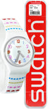 Swatch LW164 Herzlich White Dial Blue Red Pink Hearts Silicone Band Watch New