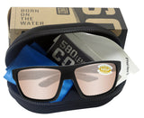 Costa Del Mar Bloke Black Gray Frame Copper Silver Mirror 580P Plastic Lens