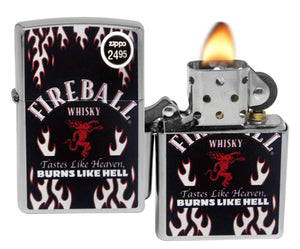 Zippo 29833 Fireball Whisky Burns Like Hell Street Chrome Windproof Lighter New