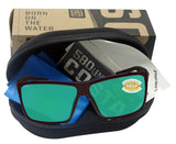 Costa Del Mar Rincon Shiny Black Frame Green Mirror 580P Plastic Polarized Lens