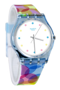 Swatch GS159 Bordujas White Analog Dial Blue Pink Yellow Silicone Band Watch New
