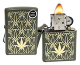 Zippo 29589 Marijuana Leaf Pattern Design Green Matte Finish Windproof Lighter