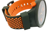 Swatch SO27M101 BBBeauty Big Bold Grey Orange Dial 3D Green Silicone Band Watch