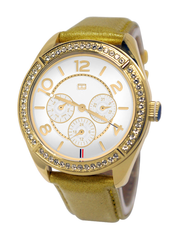 Tommy Hilfiger 1781250 White Chrono Dial Tan Leather Strap Women Watch NEW