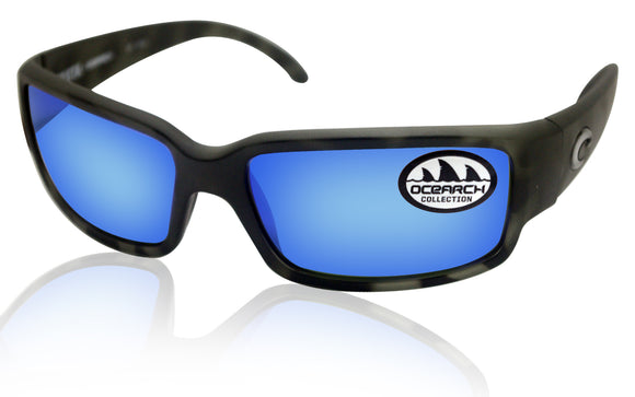 Costa Del Mar Caballito Ocearch Tiger Shark Frame Blue Mirror 580G Glass Lens