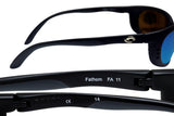 Costa Del Mar fathom matte black frame blue mirror 400G polarized glass lens new