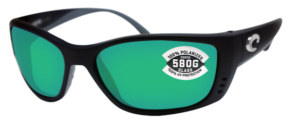 Costa Del Mar Fisch Black Frame Green Mirror 580 Glass Polarized Lens