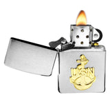 Zippo 280ANC Navy Anchor Emblem Brushed Chrome Windproof Pocket Lighter NEW
