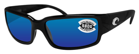 Costa Del Mar Caballito Black Frame Blue Mirror 580G Glass Polarized Lens