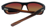 Hobie CRUZ Satin Brown Wood Frame Copper Sea Green Polarized Lens Sunglasses