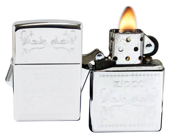 Zippo 250-029917  High Polish pattern Chrome Windproof Lighter NEW
