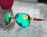 Costa Del Mar Loreto Rose Gold Tortoise Green Mirror 580P Plastic Polarized Lens