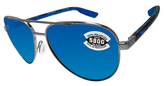 Costa Del Mar Peli Brushed Gunmetal Frame Blue Mirror 580 Glass Polarized Lens
