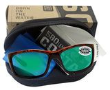 Costa Del Mar Jose Tortoise Frame Green Mirror 580G Glass Polarized Lens