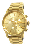 Nixon A386502 Sentry Chronograph Date Dial All Gold Steel Bracelet Watch New