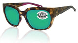 Costa Del Mar Waterwoman Shadow Tortoise Green Mirror 580 Glass Polarized Lens