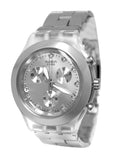Swatch SVCK4038G Full Blooded Silver Chronograph Dial Steel Bracelet Watch New