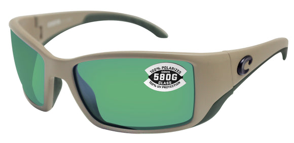 Costa Del Mar Blackfin Matte Sand Frame Green Mirror 580 Glass Polarized Lens