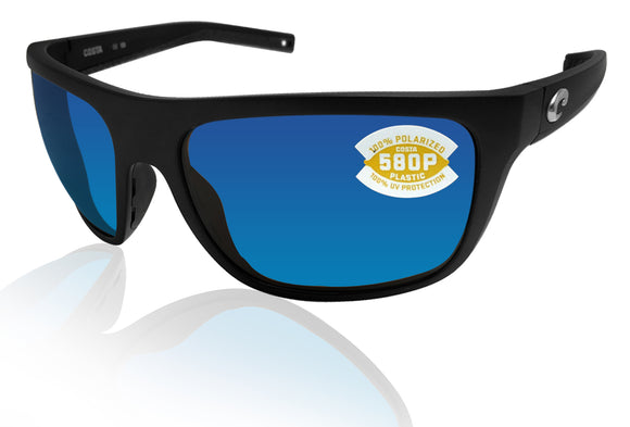 Costa Del Mar Broadbill Matte Black Blue Mirror 580 Plastic Polarized Lens