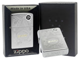Zippo 29512 Engraved with Gold Script Logo Satin Chrome Finish Lighter New