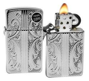 Zippo 29831 Exquisit Slim High Polish Chrome Armor Deep Carved Windproof Lighter