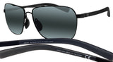 Maui Jim 326-02 Freight Trains Gloss Black / Neutral Grey Sunglasses NEW