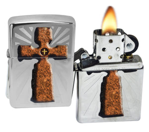 Zippo 28801 Stone Cross High Polished Chrome Lighter