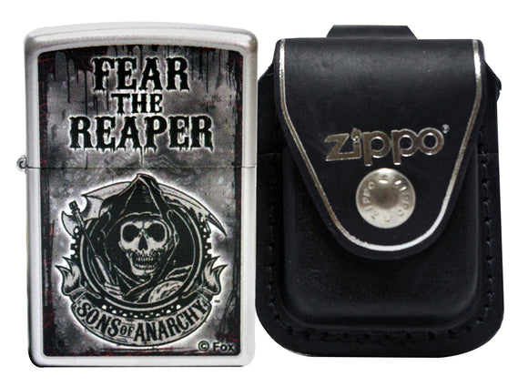 Zippo Lighter 28502 Sons Of Anarchy Fear The Reaper + LPLBK Black Leather Pouch