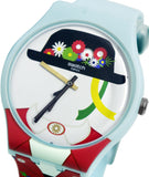 Swatch Original SUOL103 Yodle White Black Floral Blue Red Silicone Band Watch