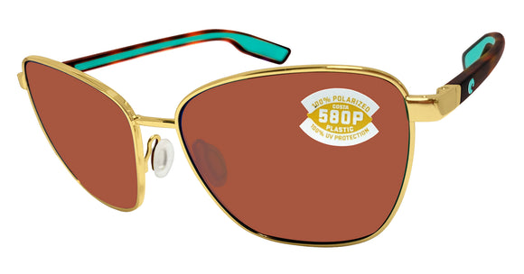 Costa Del Mar Paloma Shiny Gold Frame Copper 580 Plastic Polarized Lens