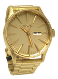 Nixon A356502 Sentry SS All Gold Day Date Dial Steel Bracelet Men Watch NEW