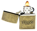 Zippo 28994 Stamped Logo Classic Antique Brass Finish Pocket Lighter New