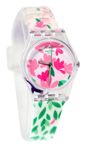 Swatch LK355 Jackaranda Pink Floral Dial Green Leaves White Silicone Band Watch