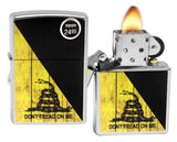 Zippo 29842 Don\'t Tread on Me Flag Snake Street Chrome Finish Windproof Lighter