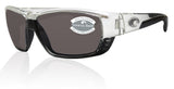 Costa Del Mar Tuna Alley Shiny Crystal Frame Grey 580P Plastic Polarized Lens