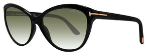 Tom Ford FT0325 Telma Soft Cat Eye Black Green 60 Lens Sunglasses TF325 01P New