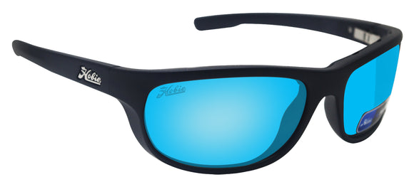Hobie CRUZ Satin Black Frame Grey Cobalt Blue Polarized Lens Sunglasses